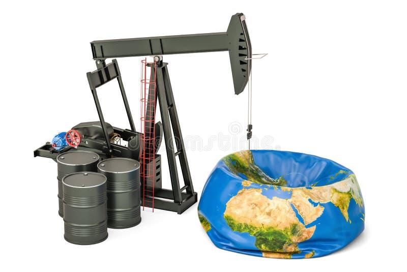 Pumpjack con i barili da olio ed il globo sgonfiato della terra, produzione di petrolio illustrazione di stock