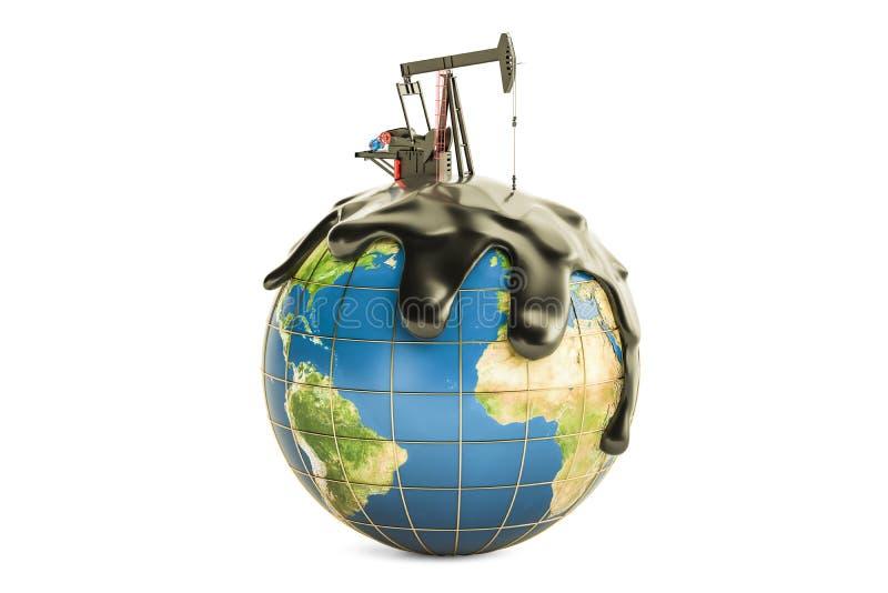 Pumpjack con petrolio greggio sul globo della terra, conce di produzione di petrolio illustrazione vettoriale