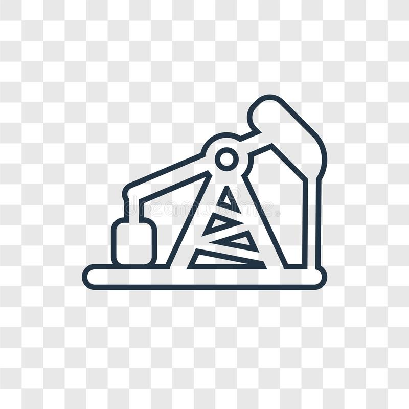 Pumpjack concept vector linear icon isolated on transparent back stock illustration