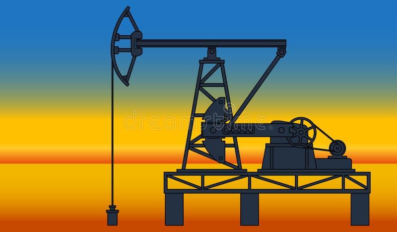 Pumpjack dell'olio illustrazione di stock