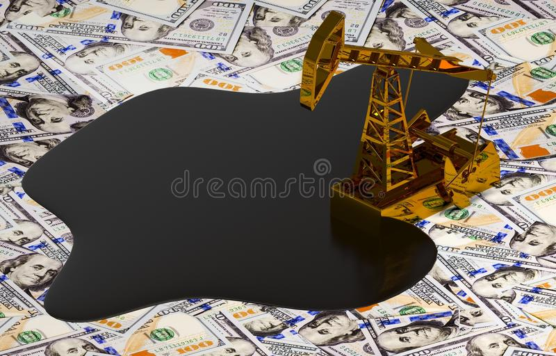 Pumpjack dorato ed olio rovesciato sui soldi royalty illustrazione gratis