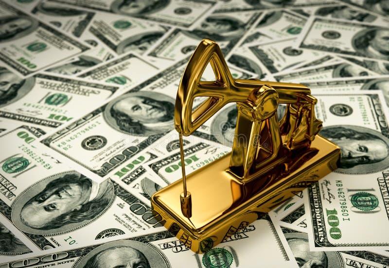 Pumpjack dorato sui soldi royalty illustrazione gratis