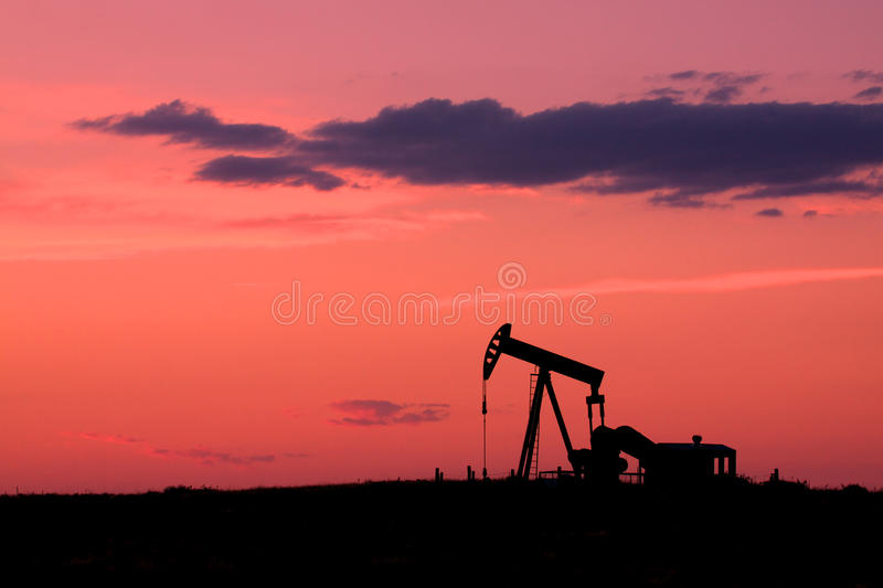 Pumpjack at Sunset stock images