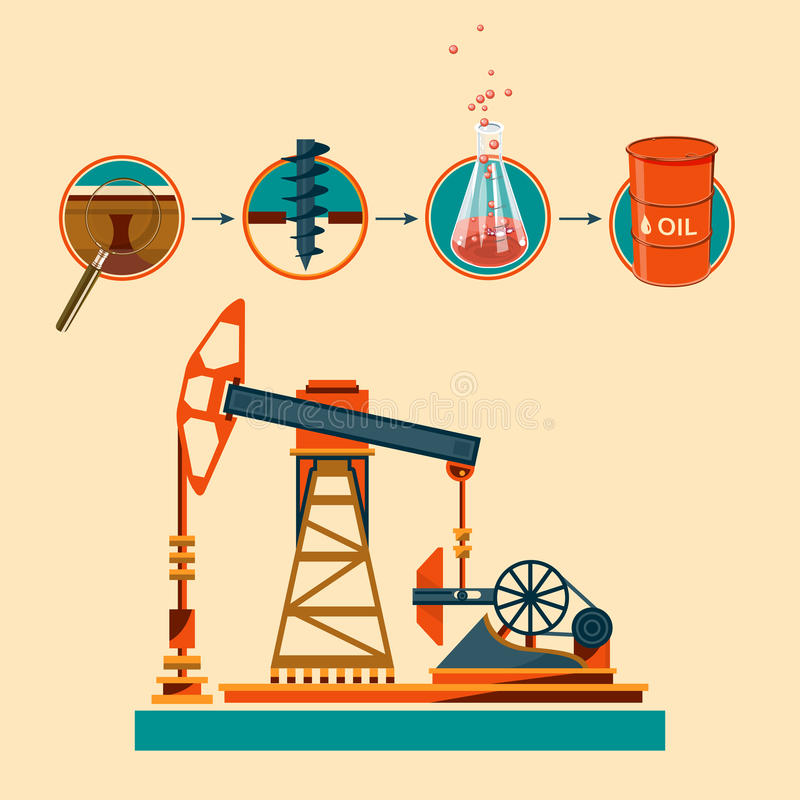 Pumpjack and Working Oil Pumps and Drilling Rig, Oil Pump, Petroleum Industry. Pumpjack and Working Oil Pumps and Drilling Rig. Petroleum Industry stock illustration