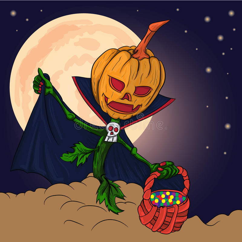 Pumpkin asks for sweets for the holiday stock illustration