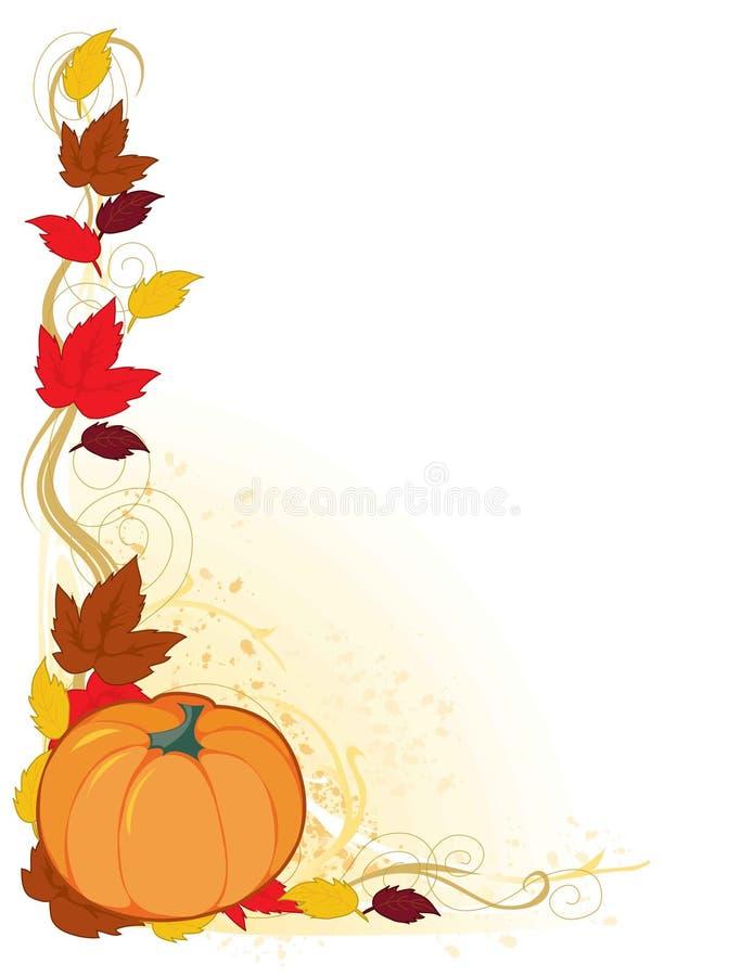 Pumpkin Autumn Border. A frame with autumn leaf and a pumpkin in the corner