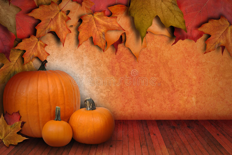 Download Pumpkin Background With Leaves Royalty Free Stock Photo - Image: 26830625