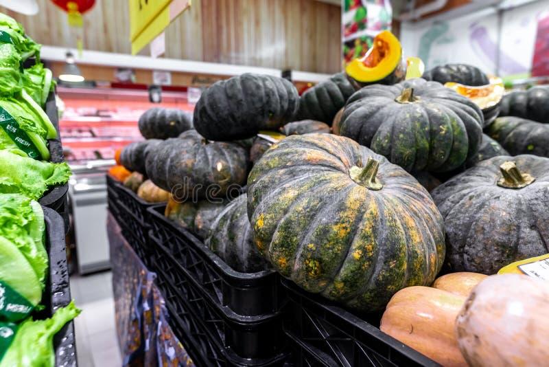 Pumpkin background. Many pumpkins on a local organic food market on Bali island, Indonesia. stock image