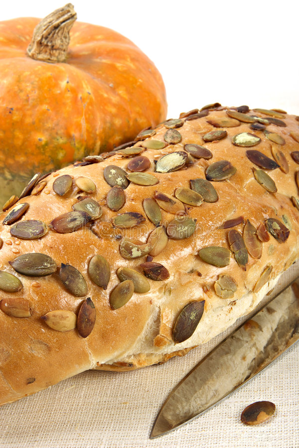 Pumpkin bread with seeds. Nutritious product of rough grinding royalty free stock image