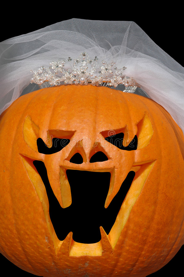 Pumpkin Bride. Evil looking jackolantern dressed up as a bride with tiara and veil royalty free stock images