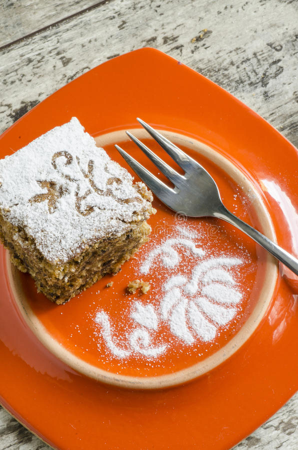 Download Pumpkin Cake On Orange Plate And Fork Stock Image - Image: 33375805