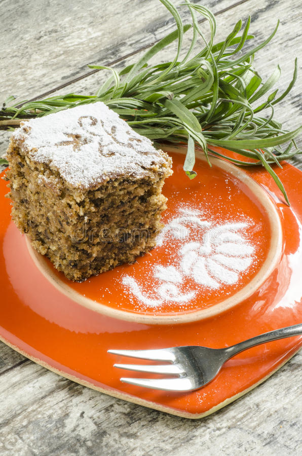 Pumpkin Cake On Orange Plate With Lavender Lives Royalty Free Stock Photo