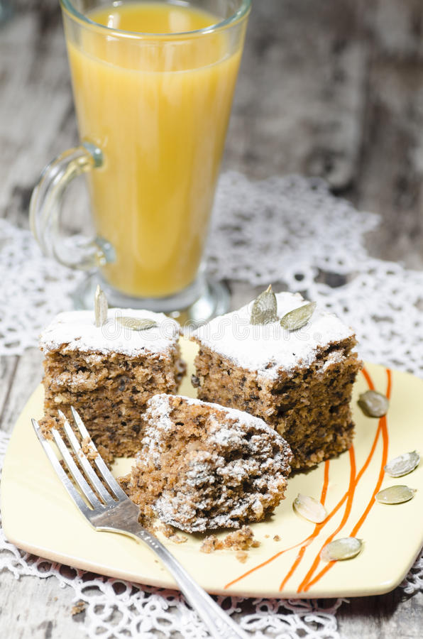 Pumpkin Cake On Plate Blurred Background Royalty Free Stock Photo