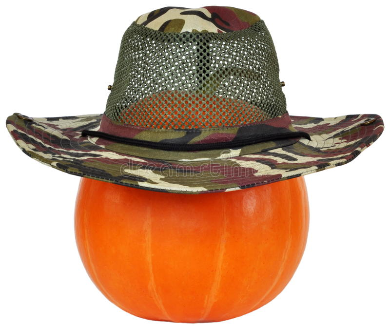 Pumpkin in a camouflage hat royalty free stock photo