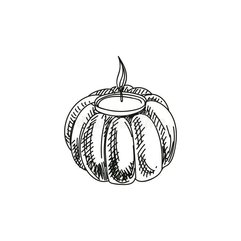 Free Pumpkin Candle Holder Hand Drawn Vector Illustration Stock Image - 159936761