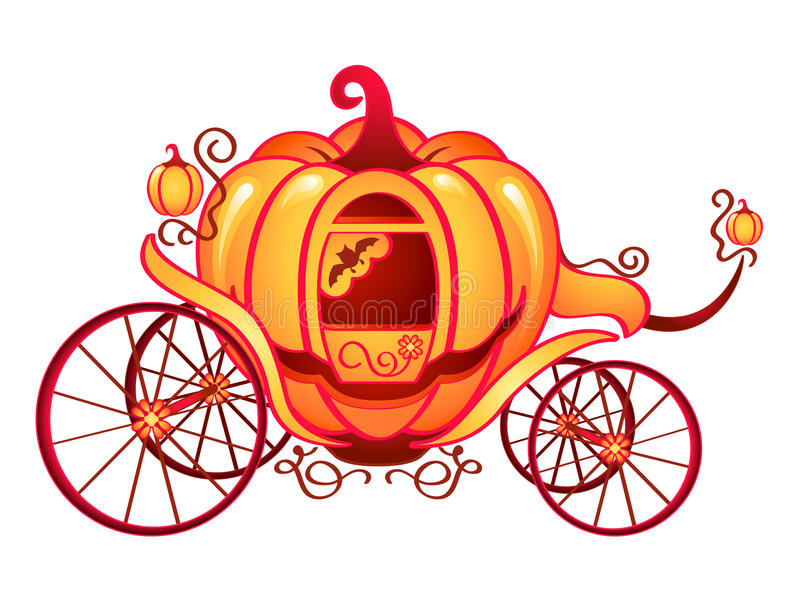 Pumpkin carriage. For Cinderella or Halloween isolated over white