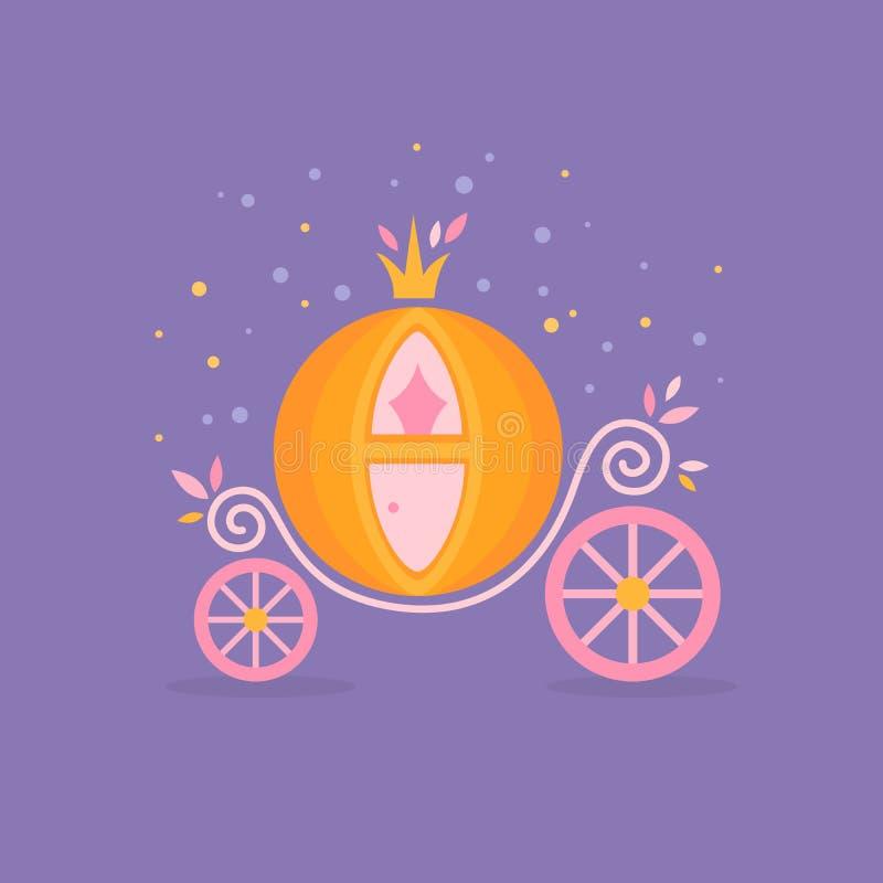 Pumpkin carriage for Cinderella cartoon fairy-tale vector illustration