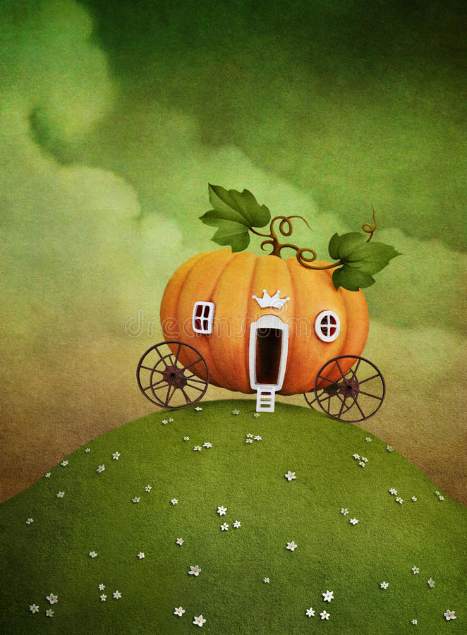 Pumpkin carriage on green hill vector illustration
