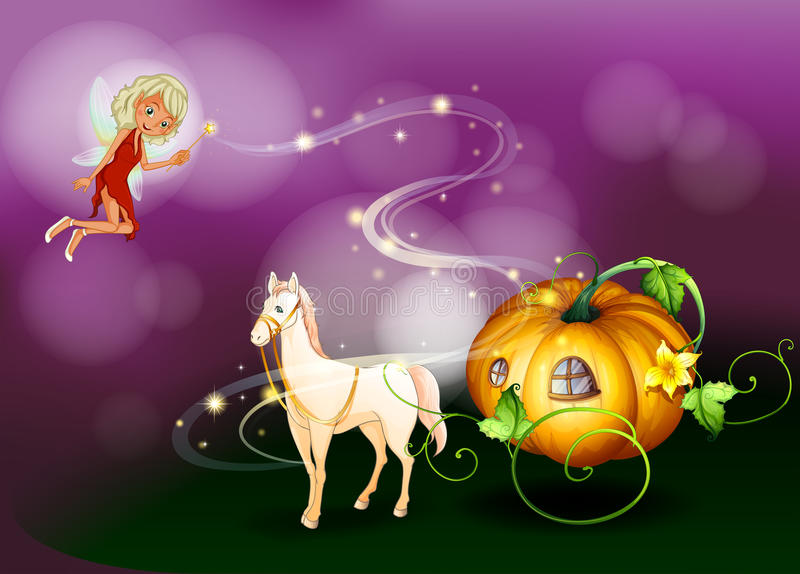 Download A Pumpkin Cart With A Fairy Holding A Wand Stock Illustration - Image: 33316216