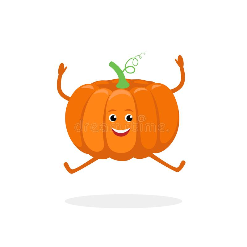 Pumpkin cartoon character isolated on white background. Healthy food funny mascot vector illustration in flat design. royalty free illustration