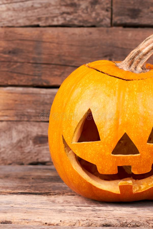 Pumpkin carved as Jack-O-Lantern. stock image
