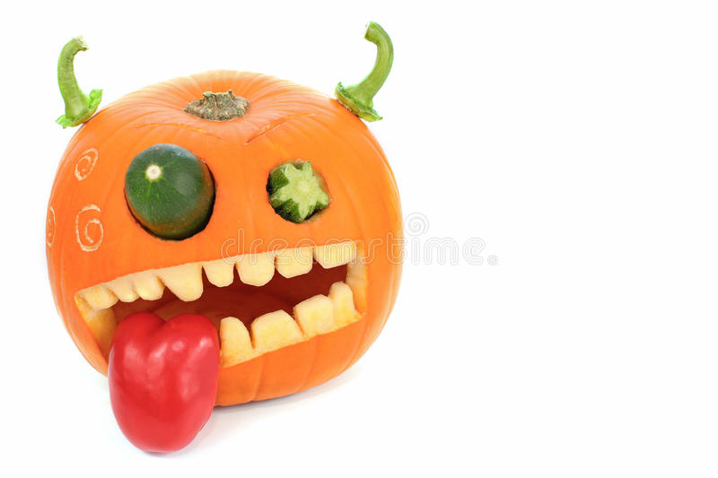 Pumpkin carved for Halloween. Jackolantern. Pumpkin carved for Halloween. Jack-o-lantern. Isolatedon white with copy space royalty free stock photos