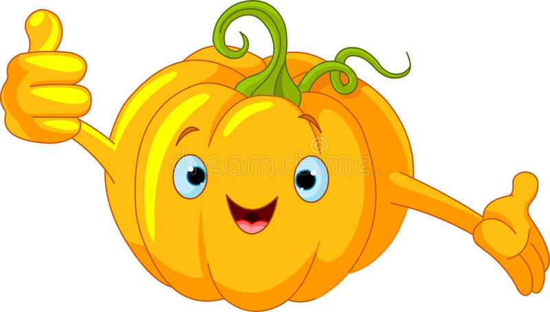 Pumpkin Character giving thumbs up royalty free illustration