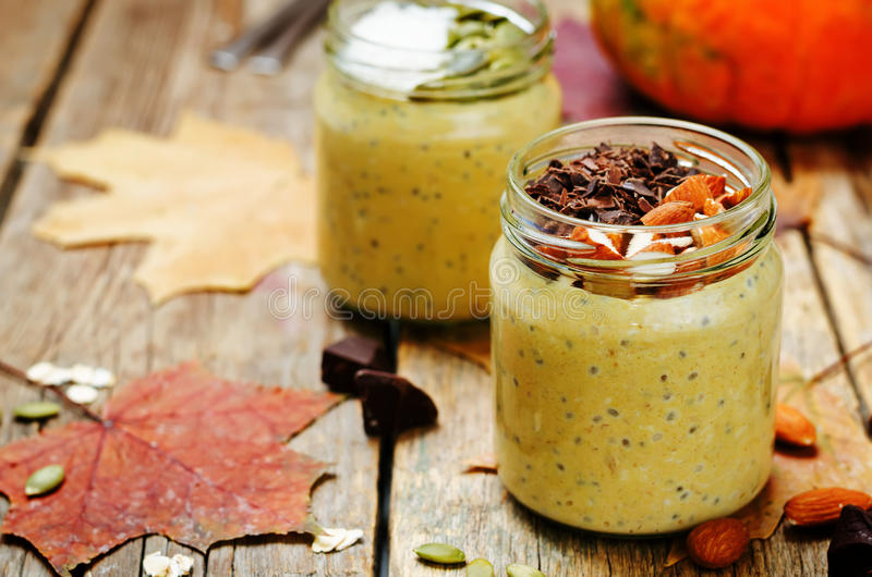 Pumpkin chia seeds overnight oats royalty free stock images