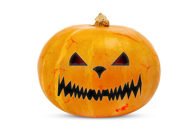 Pumpkin close-up for Halloween holiday on a white background. Isolate. Orange, lantern, isolated, face, object, yellow, horror, evil, smile, symbol, funny stock images