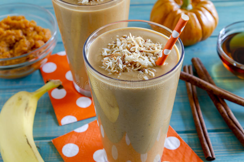 Pumpkin Coconut Smoothie Drinks royalty free stock photos