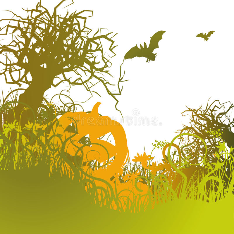 Download Pumpkin in the cold grass stock vector. Image of green - 39804657
