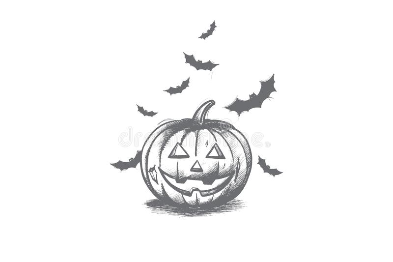 Pumpkin concept. Hand drawn isolated vector. royalty free stock images