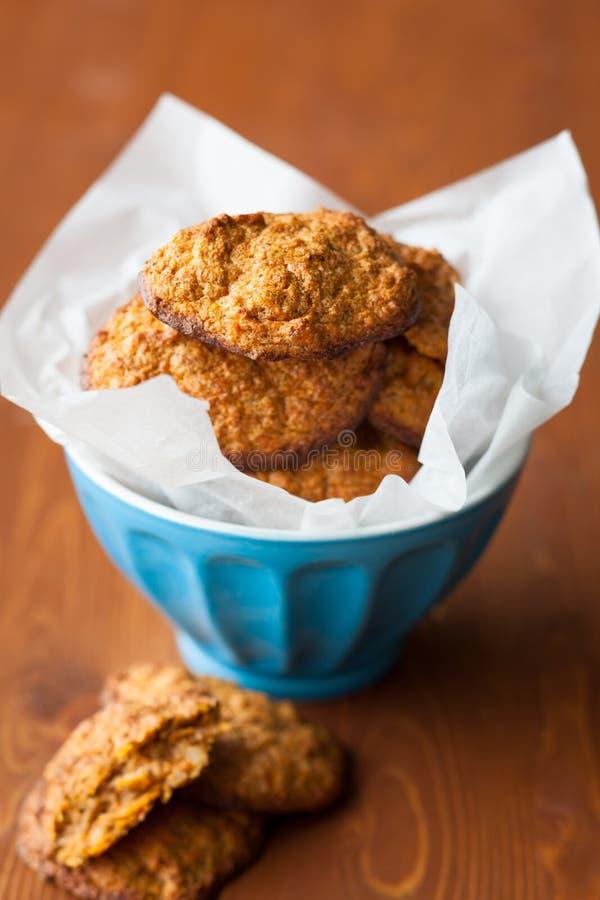 Pumpkin cookies. Pumpkin Oatmeal Spice Cookies in bowl royalty free stock photos