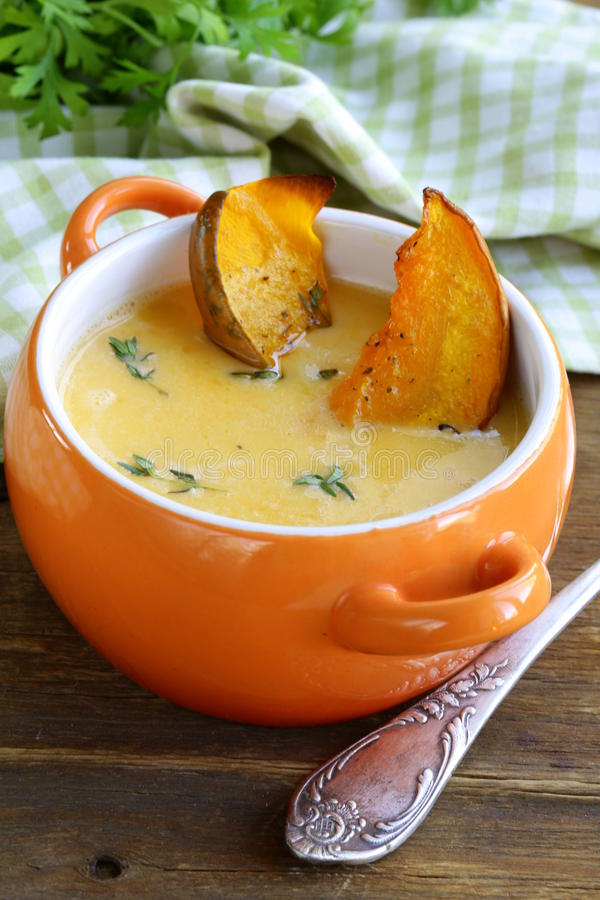 Download Pumpkin Cream Soup With Pieces Roasted Pumpkin Stock Photo - Image: 33390486