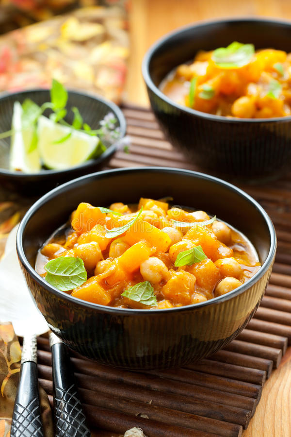 Pumpkin curry. With chick-peas stock photo