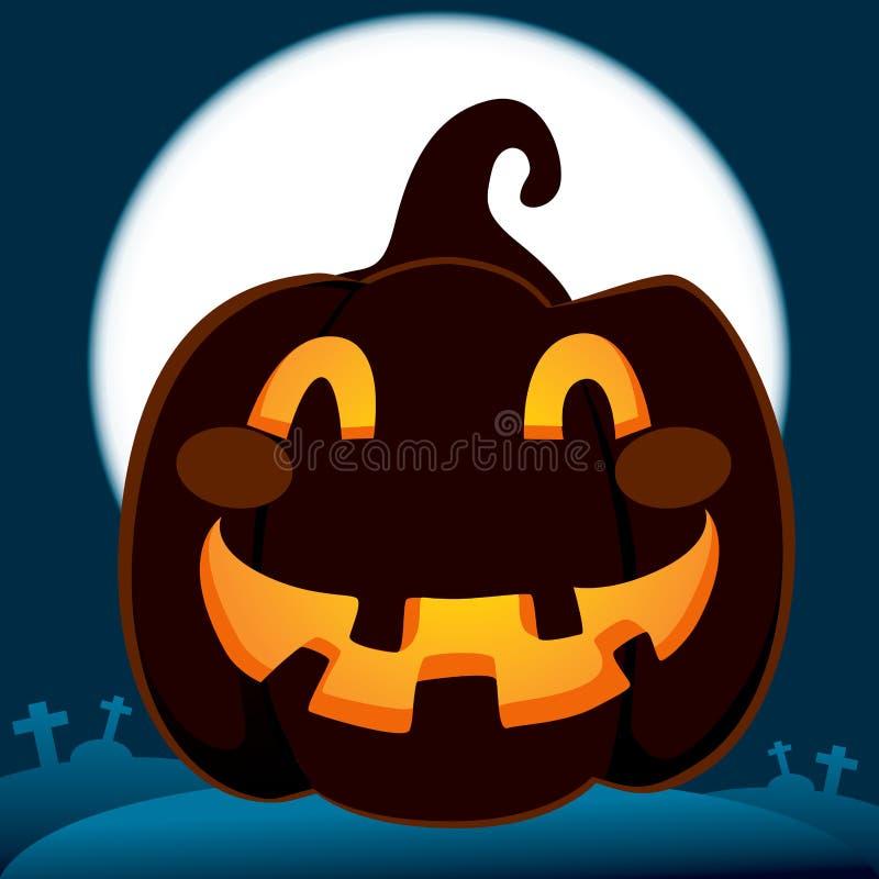 Pumpkin In Dark Cemetery Royalty Free Stock Images