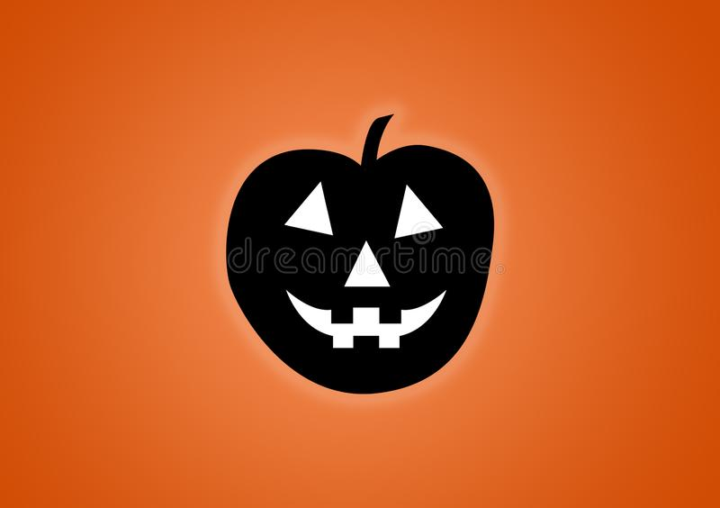 Pumpkin digitally illustrated on orange background. For Halloween use as wallpaper stock illustration
