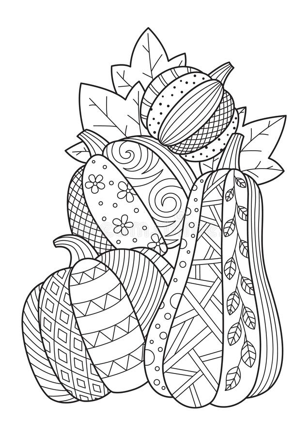 Free Pumpkin Doodle Coloring Book Page. Antistress For Adults. Black And White Illustration Stock Image - 196439341