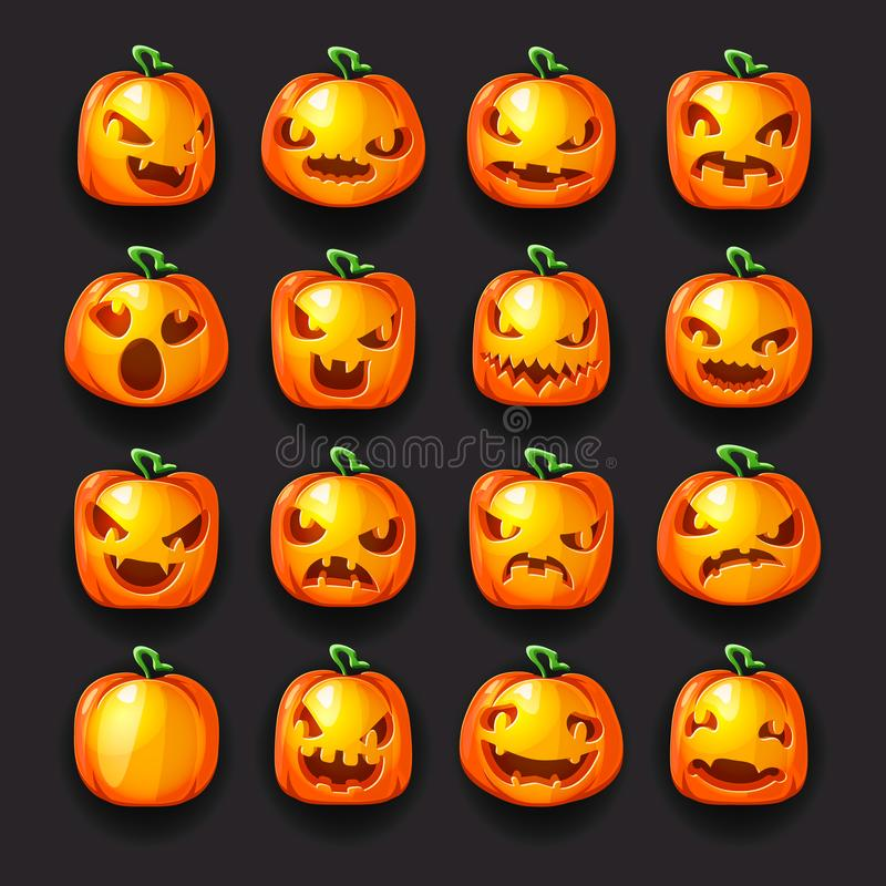 Pumpkin emoji halloween jack o lantern scary faces smile icons set isolated 3d cartoon decoration design vector. Pumpkin emoji halloween jack o lantern scary royalty free illustration