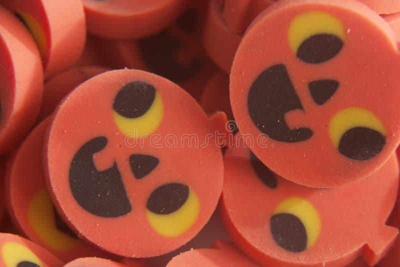 Pumpkin erasers stock photo