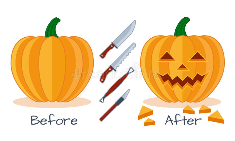 Pumpkin face flat illustration proces. Pumpkin before and after work with instrument tools , pumpkin face flat halloween icon, knife, saw vector illustration