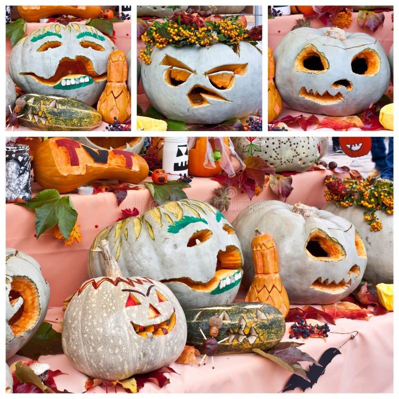Pumpkin faces stock photo