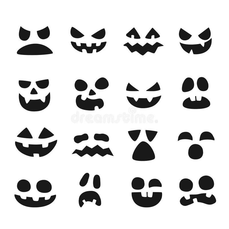Pumpkin faces. Halloween evil devil face. Scary smile mouth, spooky nose and pumpkins eyes vector illustration set royalty free illustration