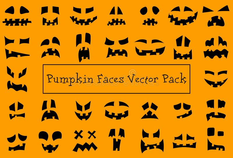 Pumpkin faces. Halloween jack o lantern face silhouettes. Monster ghost carving scary smileys vector icons set. stock illustration