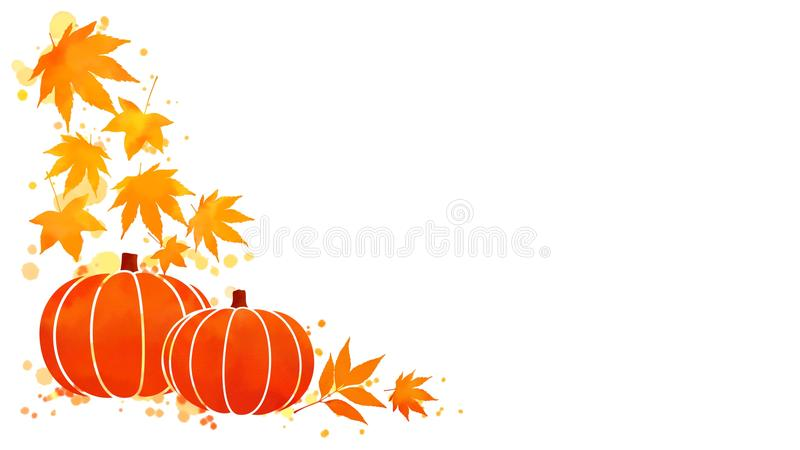 Pumpkin and fall leaves watercolor background vector illustration