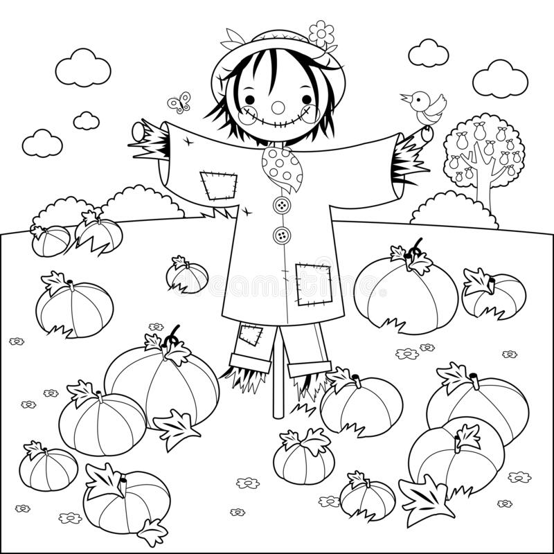 Free Pumpkin Field And A Scarecrow. Vector Black And White Coloring Page Royalty Free Stock Photography - 193278177