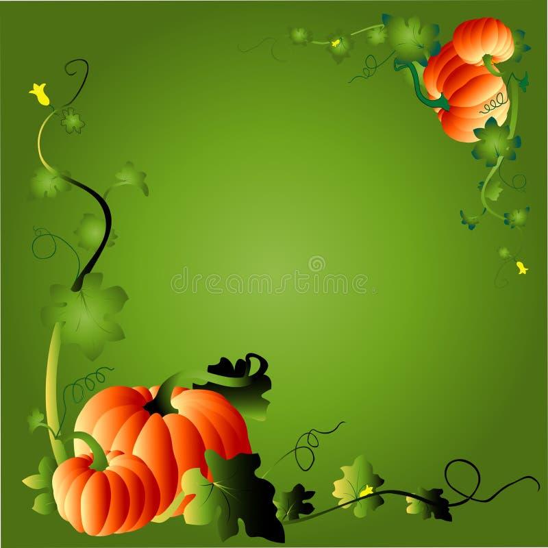 Pumpkin & foliage frame stock illustration