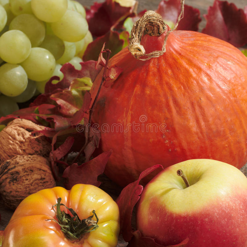 Pumpkin and fruits stock photography
