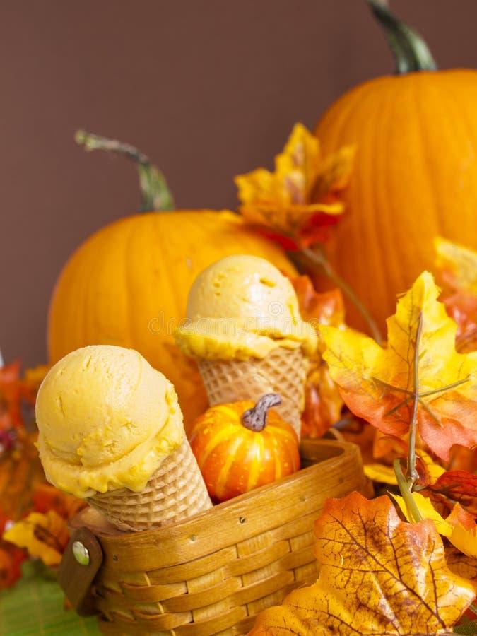 Pumpkin Gelato. Scoop of gourmet pumpkin gelato in waffle cones stock images