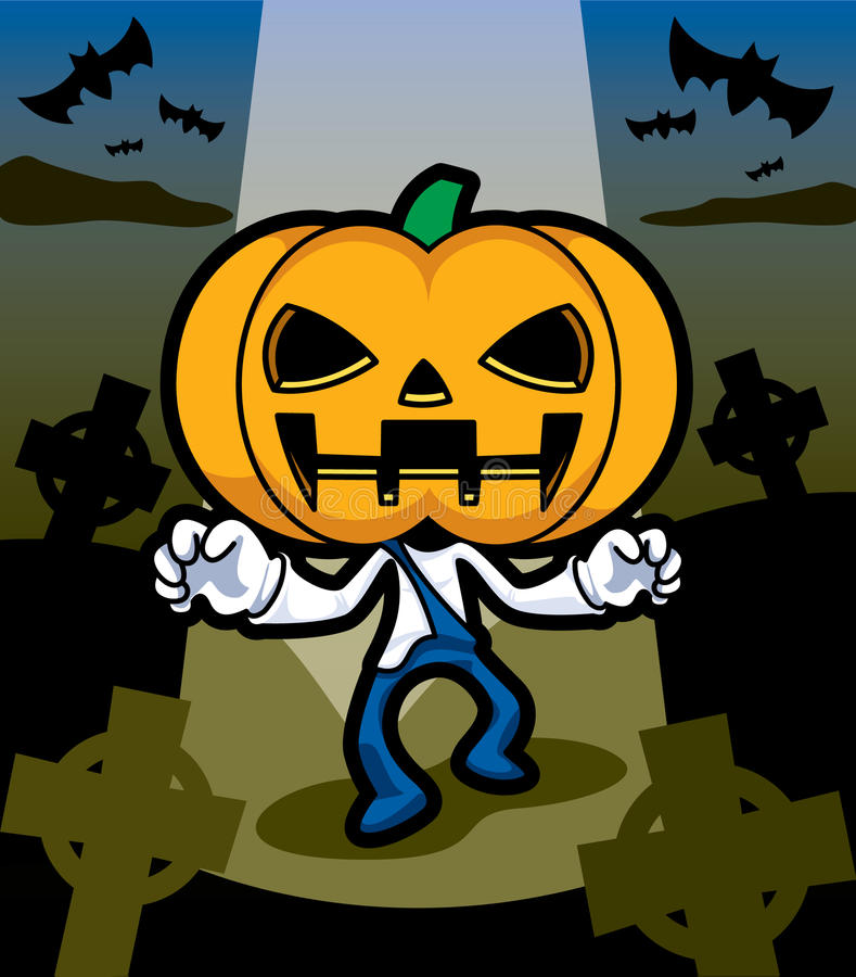 Download Pumpkin ghost stock vector. Illustration of grave, mascot - 27616874